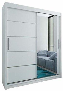 Schwebetürenschrank mit Spiegel 180 cm Kleiderschrank mit Kleiderstange und Einlegeboden Schlafzimmer- Wohnzimmerschrank Schiebetüren Modern Design (Weiß)