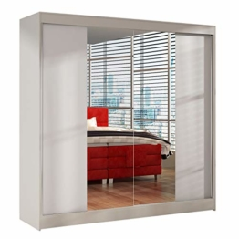 Schwebetürenschrank mit Spiegel 200 cm - Kleiderschrank, Schiebetürenschrank mit Kleiderstange und Einlegeboden, Schlafzimmerschrank, Schiebetüren, 200x215x58 cm (Weiß)