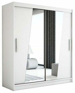 Schwebetürenschrank mit Spiegel Kleiderschrank mit Kleiderstange Schlafzimmer- Wohnzimmerschrank Schiebetüren Modern Design (Weiß)