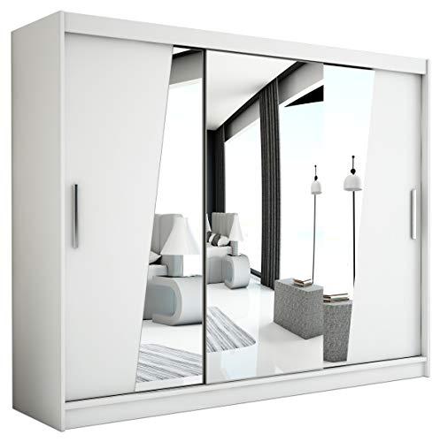 Schwebetürenschrank mit Spiegel Kleiderschrank mit Kleiderstange und Einlegeboden Schlafzimmer- Wohnzimmerschrank Schiebetüren Modernes Design (Weiß)