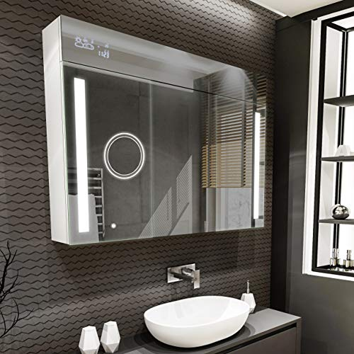 Spiegel Badschrank Spiegelschrank mit LED Beleuchtung 100 x 72 x 16,6 cm Beleuchtet Badezimmerschrank LED Smart-Touch modern