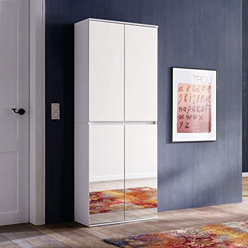 Spiegel Garderobe Garderobenschrank Flur Flurspiegel Flurschrank 74 x 191 x 34 cm Weiß Spiegel mit viel Stauraum