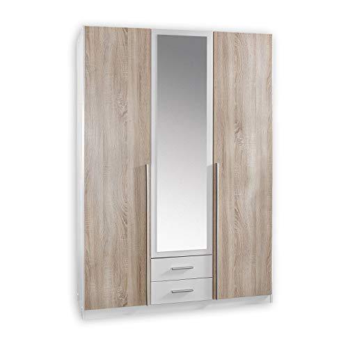 Spiegel Kleiderschrank/ Drehtürenschrank Skate, 3 Türen, 2 Schubladen, 1 Spiegel, (B/H/T) 135 x 197 x 58 cm, Weiß/ Absetzung Eiche Sägerau