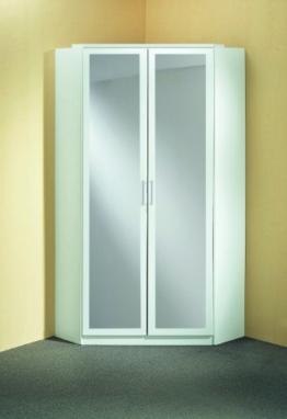 Spiegel Kleiderschrank/ Eckschrank 2 Türen mint grün Spiegeltüren schlicht modern (B/H/T) 95 x 198 x 95 cm, Weiß