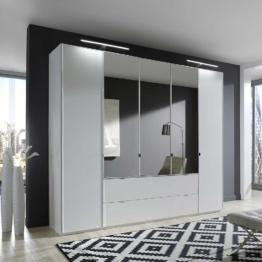 Spiegel Kleiderschrank mit Licht Beleuchtung in Weiß 250 cm breit Spiegelschrank Spiegeltüren groß Schlafzimmer modern