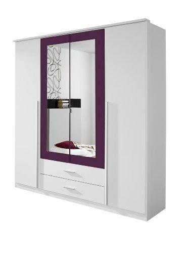 Spiegel Möbel Schrank Kleiderschrank Drehtürenschrank in Weiß / Brombeer, 4-türig mit Spiegel und 2 Schubladen, BxHxT 181x199x56 cm