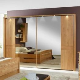 Spiegelkleiderschrank Spiegelschrank Kleiderschrank Holz Natur mit Beleuchtung Spiegelfront Landhaus