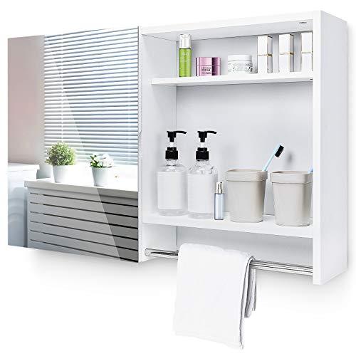 Spiegelschrank Bad Badschrank Hängeschrank Spiegel, Badezimmerschrank Einlegeboden offenen Regal, Holz Weiß, 77x17x50cm
