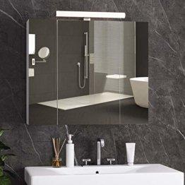 Spiegelschrank Bad mit LED Beleuchtung 70x15x60cm Badezimmer 3 Türen Badschrank Spiegel Hängeschrank Badspiegel Weiß