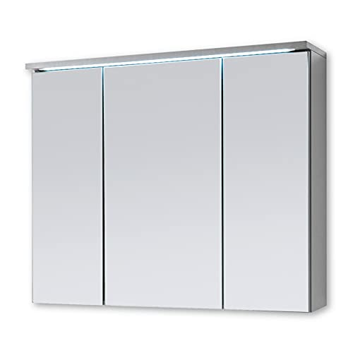 Spiegelschrank Bad mit LED-Beleuchtung Badezimmerspiegel Schrank mit viel Stauraum - 100 x 68 x 22,5 cm (B/H/T)