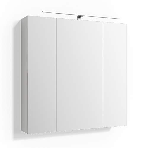 Spiegelschrank Badschrank LED Beleuchtung Badspiegel Wandspiegel Steckdose 3 Spiegeltüren 72,5x72x15cm