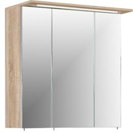 Spiegelschrank Badschrank Spiegel Spiegeltüren mit Licht sonoma eiche modernes Badezimmer Dekor 70,5 x 16 x 72,5 cm