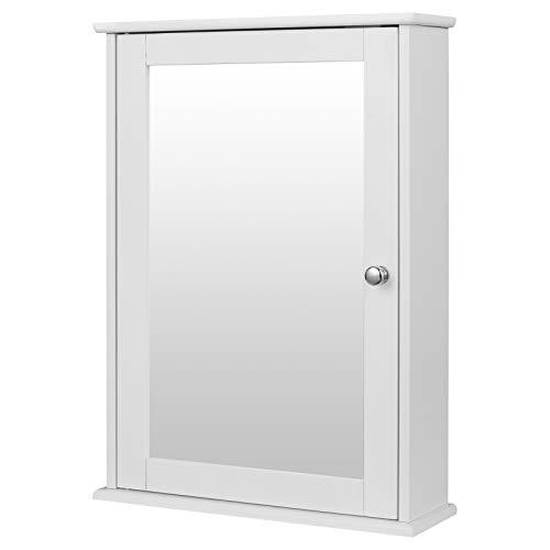 Spiegelschrank Badspiegel Hängeschrank mit Türen Wandschrank Badschrank Weiß BHT ca: 42x58,5x12cm