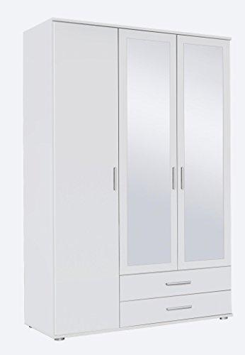 Spiegelschrank Drehtürenschrank mit Spiegeltüren 2 Schubladen, 3-türig 3 Einlegeböden 1 Kleiderstange Weiß 52 x 127 x 188 cm