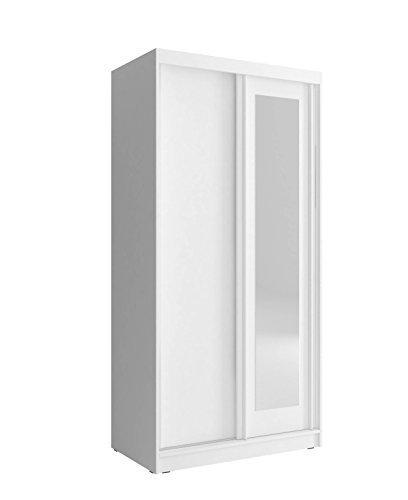 Spiegelschrank Kleiderschrank mit Spiegel Schrank Gaderobe Schiebtüren modern Weiß, 100 cm