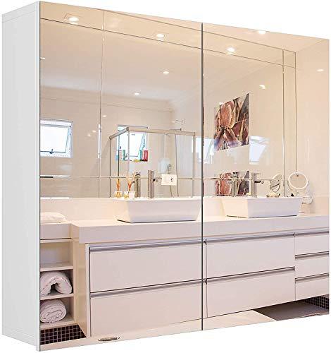 Spiegelschrank mit 2 Türen Badezimmerspiegel Badspiegel Wandschrank mit Spiegel Wandspiegel Schrank Holz Weiß