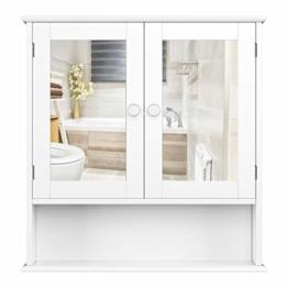 Spiegelschrank mit Ablage Badspiegel aus Holz Badezimmerspiegel Wandspiegel Wandschrank Hängeschrank 58x56x13cm