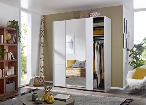 SpiegelSchrank Schwebetürenschrank Kleiderschrank Weiß mit Spiegel 2-türig inkl. Einlegeböden Kleiderstangen, BxHxT 175x210x59 cm