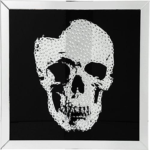 Totenkopf Spiegel Wandspiegel groß Design Bild Frame Mirror Skull, 100x100cm, Glas, Schwarz, Dekobild, Totenkopfbild 4,5x100x100cm