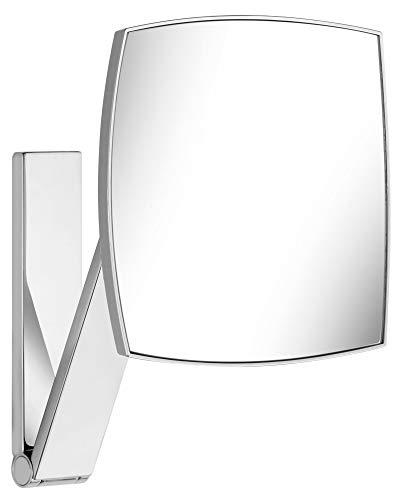 Wand-Kosmetikspiegel mit Schwenkarm und Drehgelenk, 5-facher Vergrößerung, 20x20cm, eckig, chrom, zur Wandmontage, edles Design