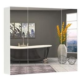 Wandschrank, Schrank mit Spiegel, 3-türiger Schrank, 70 x 60 x 15 cm, mit Regal, modern, weiß Spiegelschrank fürs Bad