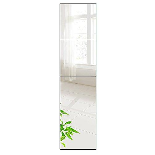 Wandspiegel 6 Stück 26x26cm aus Glas Spiegel HD DIY Rahmenlos Spiegelfliesen an der Tür für Bad- oder Wohnzimmer