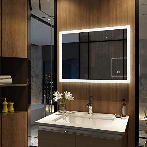 Wandspiegel Badezimmerspiegel LED Badspiegel mit Beleuchtung 80x60cm mit Touch Schalter und Beschlagfrei Lichtspiegel