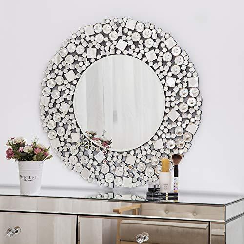 Wandspiegel groß mit Glitzer Jeweled Kristall schwarz Holz Glamorous Rund Silber Kosmetikspiegel Wohnzimmer Flur 70x70 cm