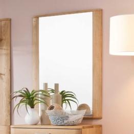 Wandspiegel in Eiche Bianco 65 cm breit Holzrahmen Flur Eingang Niesche Spiegel Eichenholz modern Landhaus