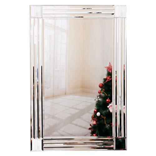 Wandspiegel, modernes Design, großer abgeschrägter Rand, venezianisches Silber, Spiegel für Wohnzimmer, 60 x 90 cm
