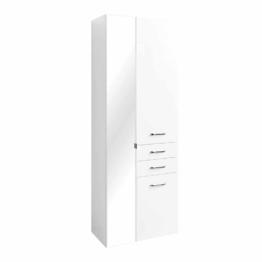 Weißer Spiegel Bad Hochschrank in Hochglanz mit Spiegeltür Badschrank modernes Badezimmer Design