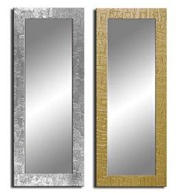 Zeitloser Wandspiegel mit handgearbeitetem Dekorrahmen - Spiegel Kacheln - ca. 135x45 cm - Silber
